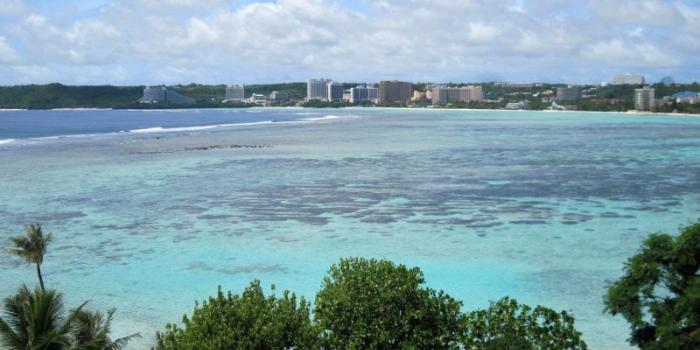 looking across Tumon Bay from my hotel room at low tide