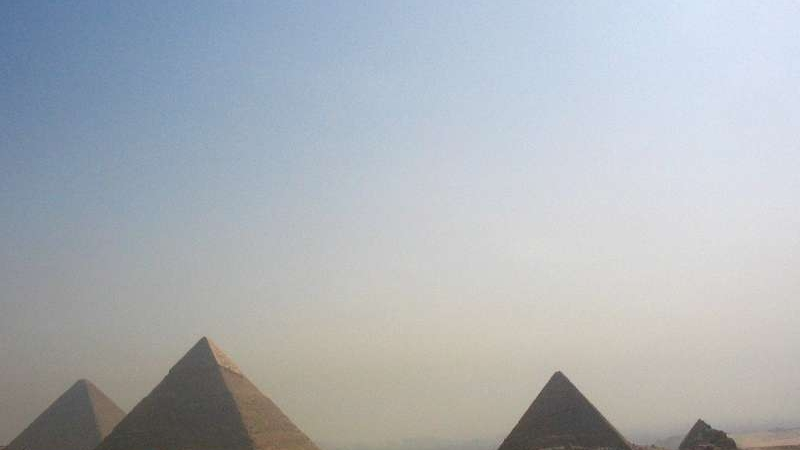 Pyramids in the creamy light at Giza